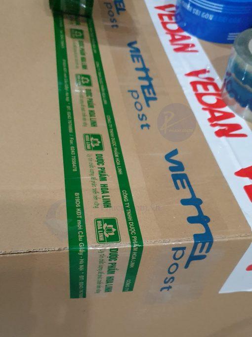 băng dính in logo xanh lá chạy viền